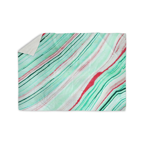 "83 Oranges ""Lines"" Green Magenta Mixed Media Sherpa Blanket"