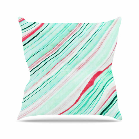 "83 Oranges ""Lines"" Green Magenta Mixed Media Outdoor Throw Pillow"