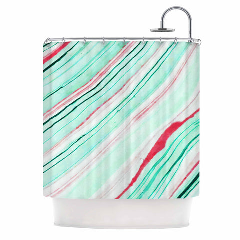 "83 Oranges ""Lines"" Green Magenta Mixed Media Shower Curtain"