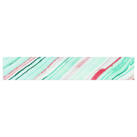 "83 Oranges ""Lines"" Green Magenta Mixed Media Table Runner"