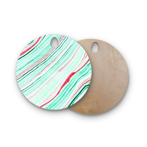 "83 Oranges ""Lines"" Green Magenta Mixed Media Round Wooden Cutting Board"
