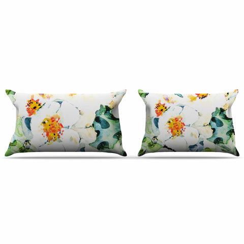 "83 Oranges ""Watercolor Flowers"" Orange Green Painting Pillow Sham"