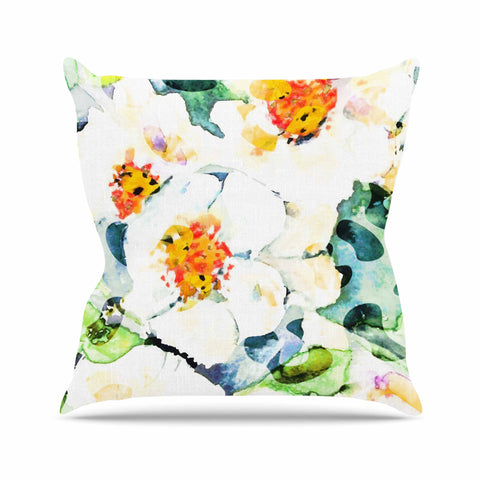 "83 Oranges ""Watercolor Flowers"" Orange Green Painting Throw Pillow"
