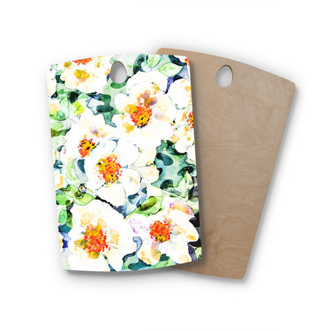 "83 Oranges ""Watercolor Flowers"" Orange Green Painting Rectangle Wooden Cutting Board"