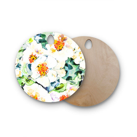 "83 Oranges ""Watercolor Flowers"" Orange Green Painting Round Wooden Cutting Board"