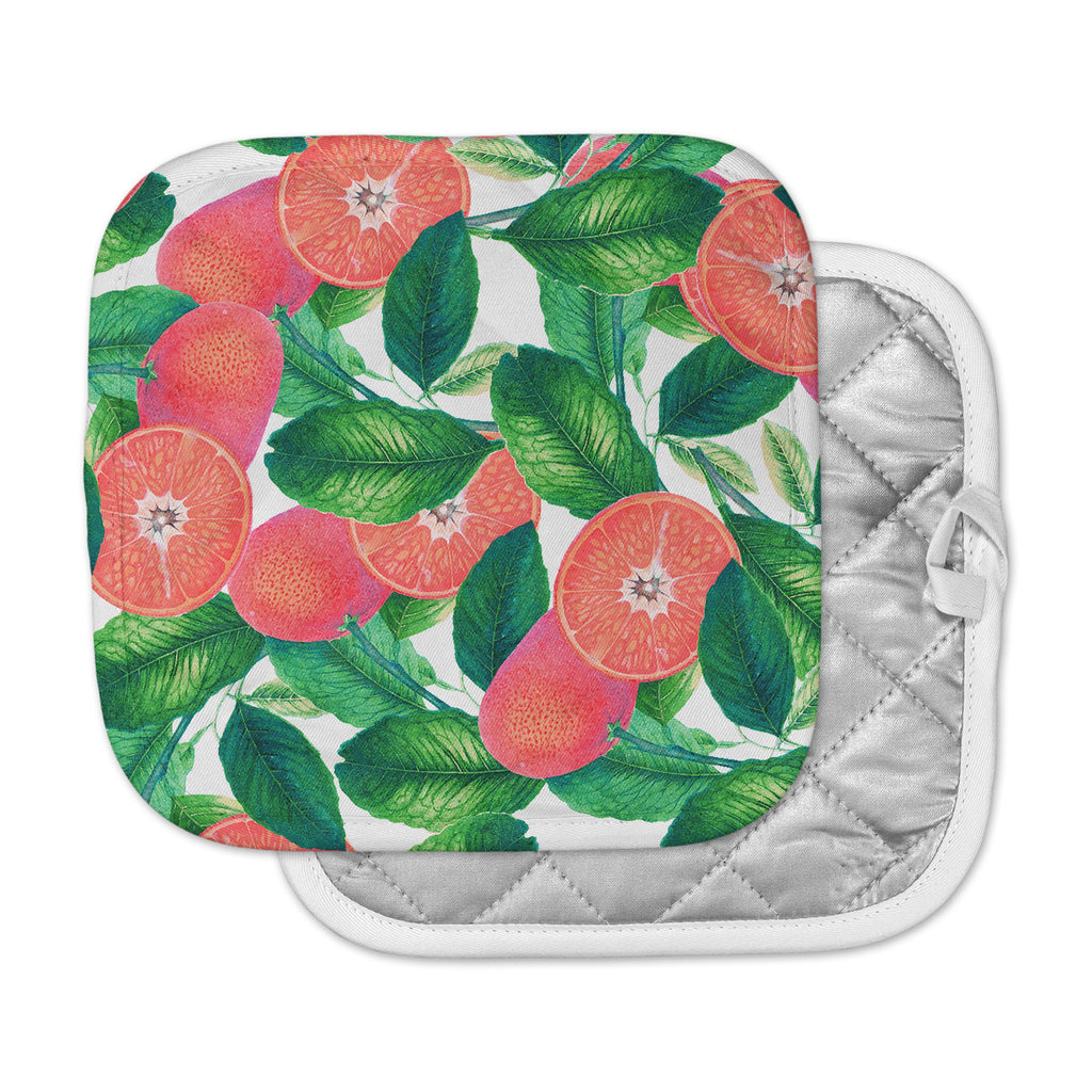 "83 Oranges ""Forbidden Fruit"" Coral Green Digital Pot Holder"