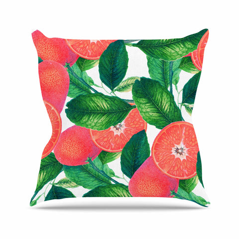 "83 Oranges ""Forbidden Fruit"" Coral Green Digital Throw Pillow"