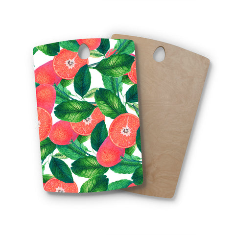 "83 Oranges ""Forbidden Fruit"" Coral Green Digital Rectangle Wooden Cutting Board"