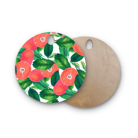 "83 Oranges ""Forbidden Fruit"" Coral Green Digital Round Wooden Cutting Board"