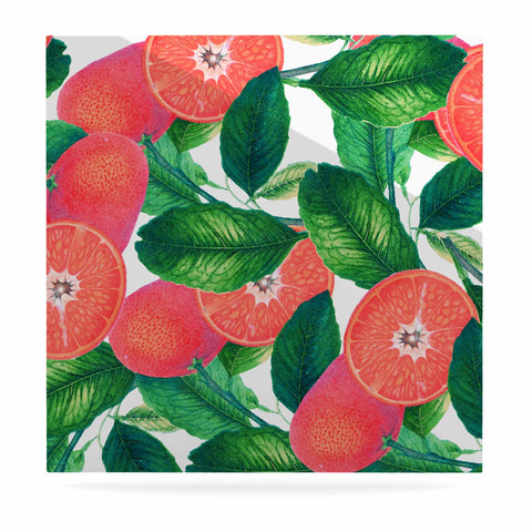 "83 Oranges ""Forbidden Fruit"" Coral Green Digital Luxe Square Panel"