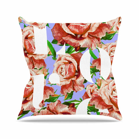 "83 Oranges ""In My Heart"" Lavender Coral Illustration Throw Pillow"