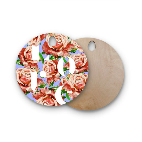 "83 Oranges ""In My Heart"" Lavender Coral Illustration Round Wooden Cutting Board"