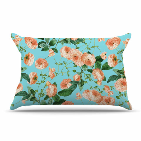 "83 Oranges ""Rosy Life"" Coral Teal Mixed Media Pillow Sham"
