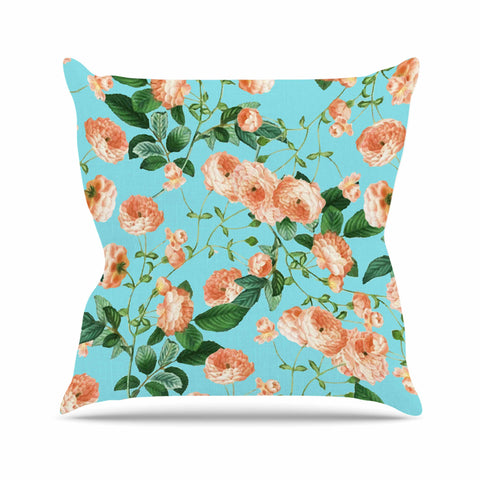 "83 Oranges ""Rosy Life"" Coral Teal Mixed Media Throw Pillow"