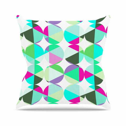 "83 Oranges ""Retro"" Blue Green Digital Throw Pillow"