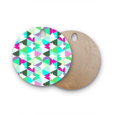 "83 Oranges ""Retro"" Blue Green Digital Round Wooden Cutting Board"