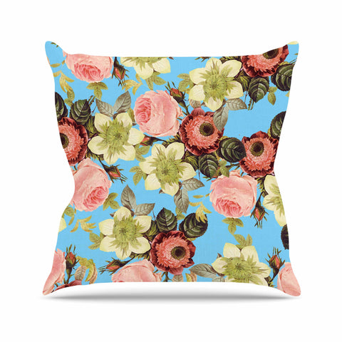 "83 Oranges ""Wild Floral"" Blue Pink Digital Throw Pillow"