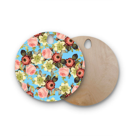 "83 Oranges ""Wild Floral"" Blue Pink Digital Round Wooden Cutting Board"