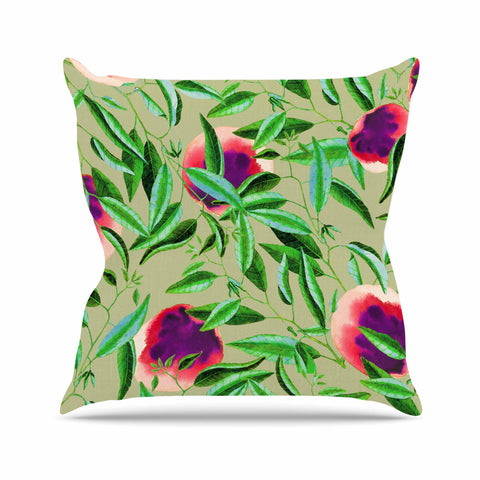 "83 Oranges ""Bon Vivant"" Green Pink Digital Throw Pillow"