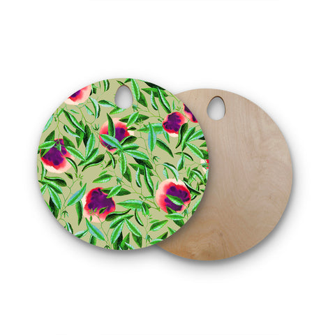 "83 Oranges ""Bon Vivant"" Green Pink Digital Round Wooden Cutting Board"