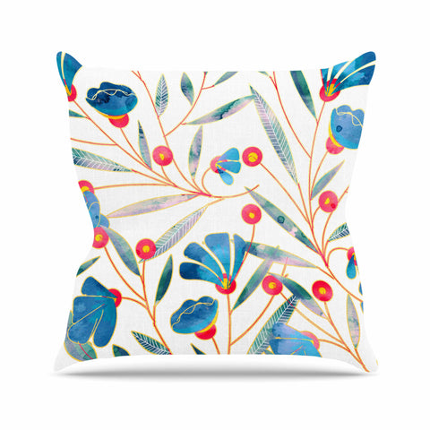 "83 Oranges ""Bluebella"" Blue White Nature Floral Illustration Watercolor Throw Pillow"