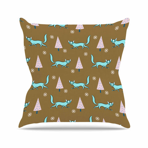 "83 Oranges ""Fox"" Brown Blue Animal Print Nature Illustration Digital Throw Pillow"