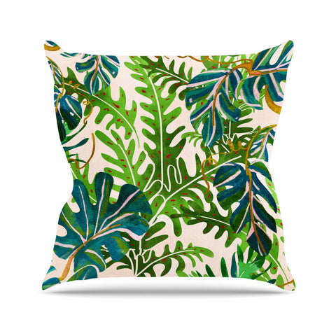 "83 Oranges ""Wild Spirit"" Green Pink Nature Travel Illustration Painting Throw Pillow"