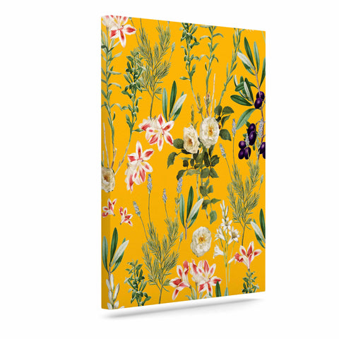"83 Oranges ""Yellow Botanical Garden"" Yellow Olive Nature Floral Illustration Digital Art Canvas"