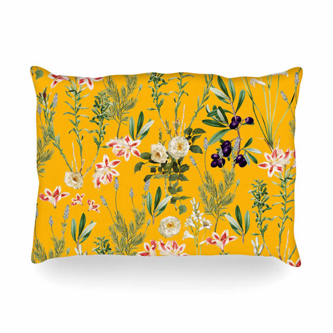 "83 Oranges ""Yellow Botanical Garden"" Yellow Olive Nature Floral Illustration Digital Oblong Pillow"