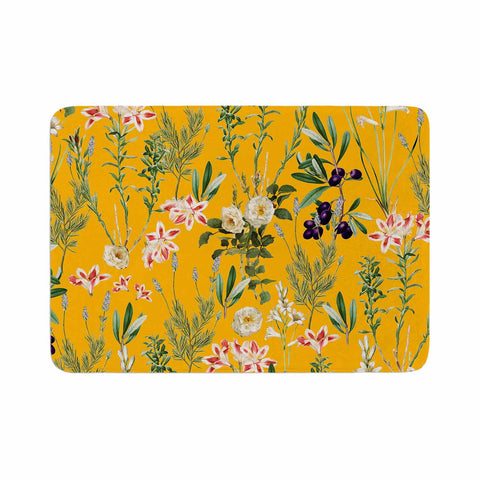 "83 Oranges ""Yellow Botanical Garden"" Yellow Olive Nature Floral Illustration Digital Memory Foam Bath Mat"
