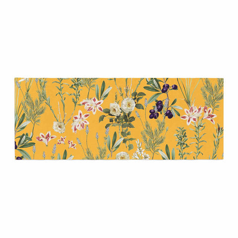 "83 Oranges ""Yellow Botanical Garden"" Yellow Olive Nature Floral Illustration Digital Bed Runner"