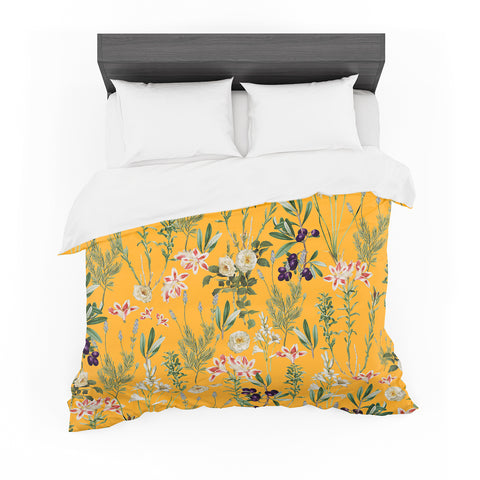 "83 Oranges ""Yellow Botanical Garden"" Yellow Olive Nature Floral Illustration Digital Featherweight Duvet Cover"