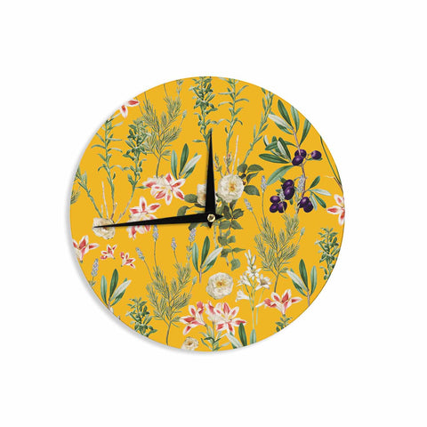 "83 Oranges ""Yellow Botanical Garden"" Yellow Olive Nature Floral Illustration Digital Wall Clock"