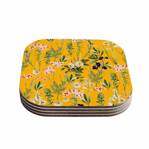 "83 Oranges ""Yellow Botanical Garden"" Yellow Olive Nature Floral Illustration Digital Coasters (Set of 4)"