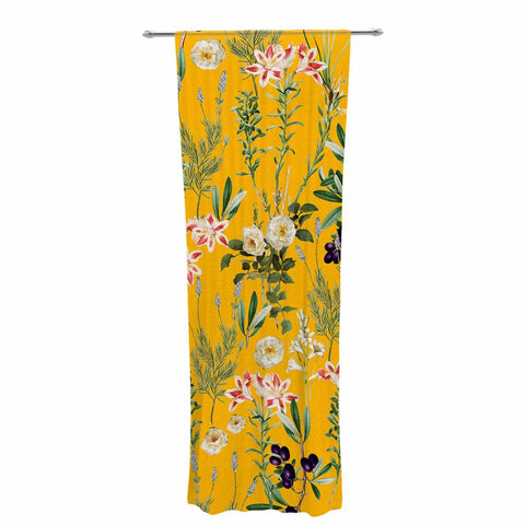 "83 Oranges ""Yellow Botanical Garden"" Yellow Olive Nature Floral Illustration Digital Decorative Sheer Curtain"