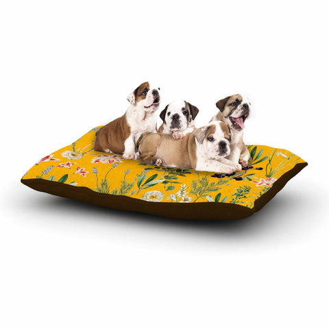 "83 Oranges ""Yellow Botanical Garden"" Yellow Olive Nature Floral Illustration Digital Dog Bed"