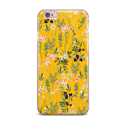 "83 Oranges ""Yellow Botanical Garden"" Yellow Olive Nature Floral Illustration Digital iPhone Case"