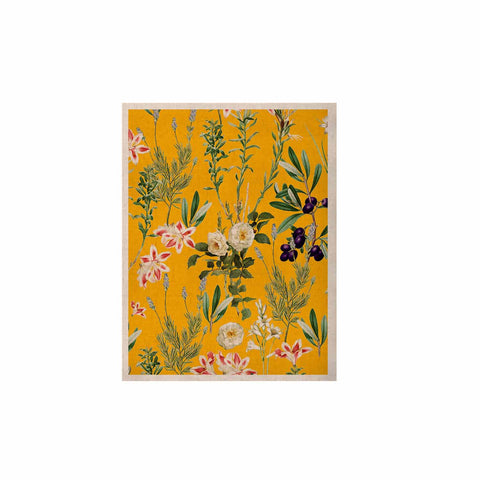 "83 Oranges ""Yellow Botanical Garden"" Yellow Olive Nature Floral Illustration Digital KESS Naturals Canvas (Frame not Included)"