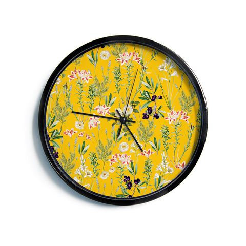 "83 Oranges ""Yellow Botanical Garden"" Yellow Olive Nature Floral Illustration Digital Modern Wall Clock"