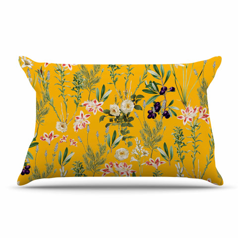 "83 Oranges ""Yellow Botanical Garden"" Yellow Olive Nature Floral Illustration Digital Pillow Sham"