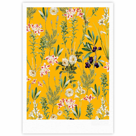 "83 Oranges ""Yellow Botanical Garden"" Yellow Olive Nature Floral Illustration Digital Fine Art Gallery Print"