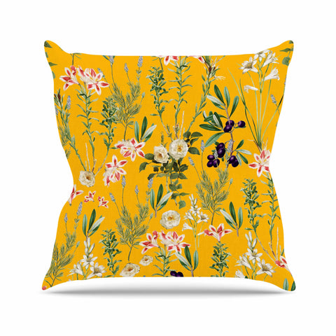 "83 Oranges ""Yellow Botanical Garden"" Yellow Olive Nature Floral Illustration Digital Outdoor Throw Pillow"