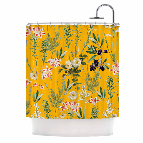 "83 Oranges ""Yellow Botanical Garden"" Yellow Olive Nature Floral Illustration Digital Shower Curtain"