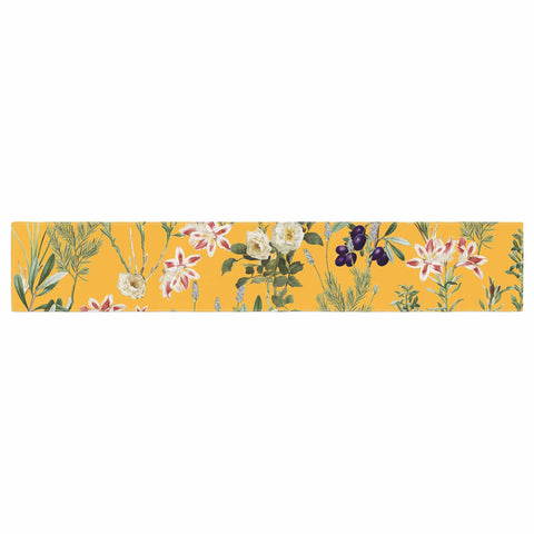 "83 Oranges ""Yellow Botanical Garden"" Yellow Olive Nature Floral Illustration Digital Table Runner"