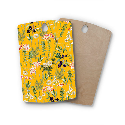 "83 Oranges ""Yellow Botanical Garden"" Yellow Olive Nature Floral Illustration Digital Rectangle Wooden Cutting Board"