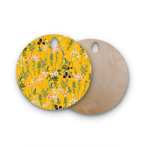 "83 Oranges ""Yellow Botanical Garden"" Yellow Olive Nature Floral Illustration Digital Round Wooden Cutting Board"