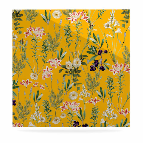 "83 Oranges ""Yellow Botanical Garden"" Yellow Olive Nature Floral Illustration Digital Luxe Square Panel"