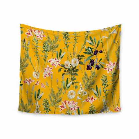 "83 Oranges ""Yellow Botanical Garden"" Yellow Olive Nature Floral Illustration Digital Wall Tapestry"