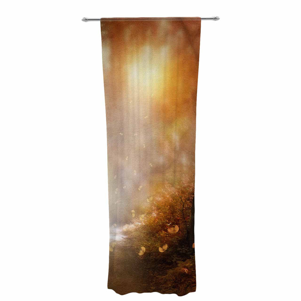 "Viviana Gonzalez ""Make It Happen"" Brown Orange Decorative Sheer Curtain - KESS InHouse  - 1"