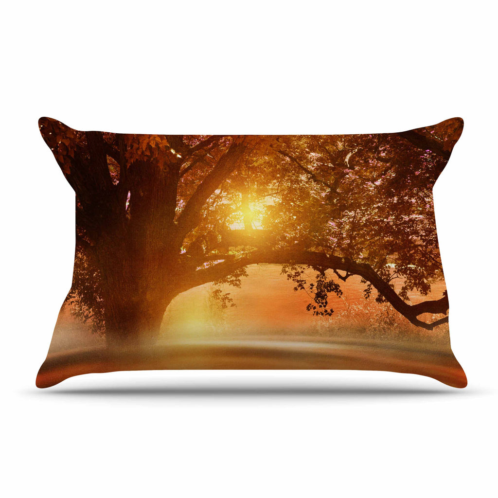 "Viviana Gonzalez ""Romance In Autumn"" Orange Gold Pillow Sham - KESS InHouse"